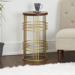 Gold and Red Oak Round Accent Table