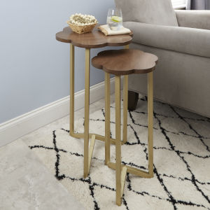 Gold and Red Oak Nesting Accent Tables, Set of Two