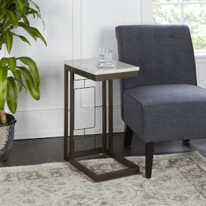 Bronze and Faux Marble Square C Table