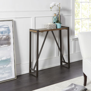 Light Graphite and Gunmetal Trestle Frame Console Table