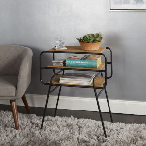 Black and Brown Accent Table with Shelves