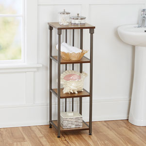 Ava Bathroom Collection 4-Tier Floor Shelf, Gunmetal