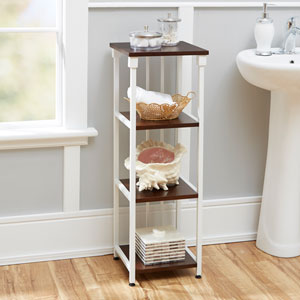 Ava Bathroom Collection 4-Tier Floor Shelf, White