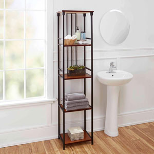 Ava Bathroom Collection 5-Tier Linen Shelf, Oil Rubbed Bronze