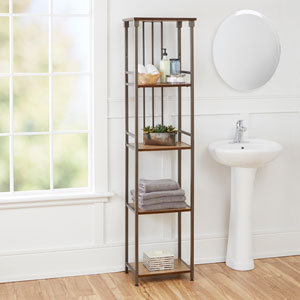 Ava Bathroom Collection 5-Tier Linen Shelf, Gunmetal