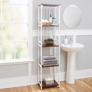 Ava Bathroom Collection 5-Tier Linen Shelf, White