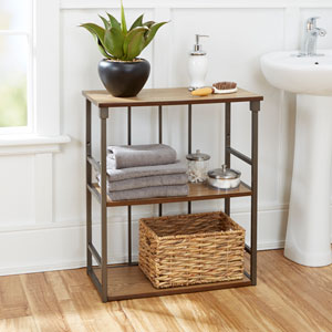 Ava Bathroom Collection 3-Tier Wall Shelf, Gunmetal