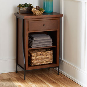Magnolia Bathroom Collection Two Tier Floor Shelf with Drawer