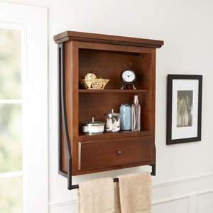 Magnolia Bathroom Collection Two Tier Wall Shelf with Drawer
