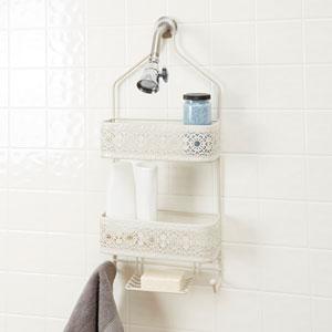 Magnolia Bathroom Collection Two Shelf Shower Caddy with Soap Holder, White