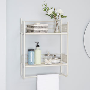 Magnolia Bathroom Collection Wall Shelf, White