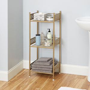 Magnolia Bathroom Collection Floor Shelf, Gold