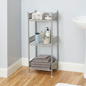 Magnolia Bathroom Collection Floor Shelf, Nickel