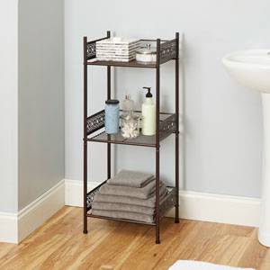 Magnolia Bathroom Collection Floor Shelf, Oil Rubbed Bronze