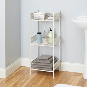 Magnolia Bathroom Collection Floor Shelf, White