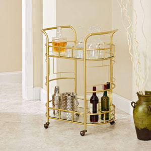 Aspen Two Tier Serving Cart in Gold