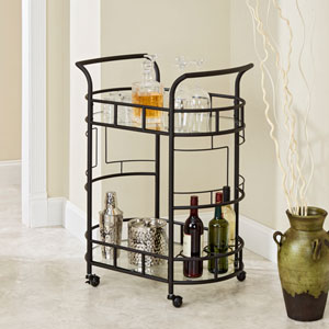 Aspen Two Tier Serving Cart in Hammered Bronze