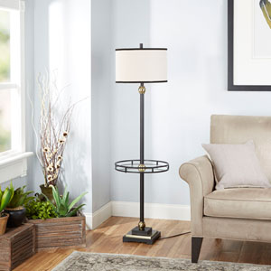 Olivia Floor Lamp with Shade and Glass Tray