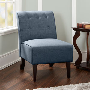 Samantha Tufted Accent Chair with Sleigh Back in Dark Grey