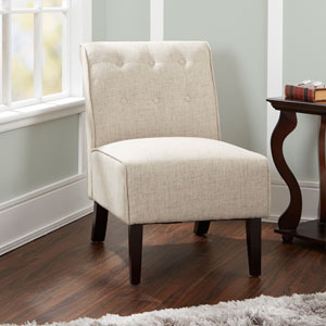 Samantha Tufted Accent Chair with Sleigh Back in Tan