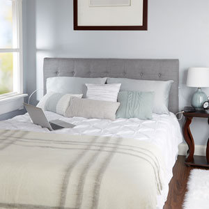 Audrey Tufted Powered Headboard in Light Grey, King