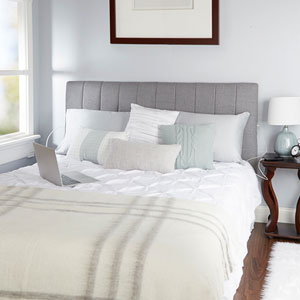 Delilah Channel Tufted Powered Headboard in Light Grey, King
