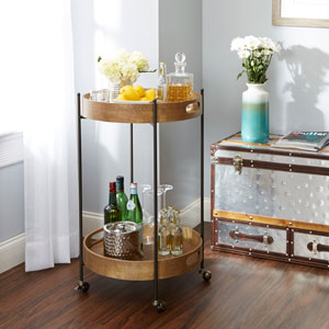 Miles 2-Tier Round Bar Cart, Short
