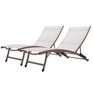 Pearl 2-Piece Clearwater 6 Position Aluminum Lounger with Wheels Set