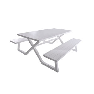 Banquet Deluxe 8-Seat White Aluminum Picnic Table