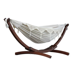 Double Cotton Hammock with Solid Pine Arc Stand  - Natural (8ft)  (FSC Certified)