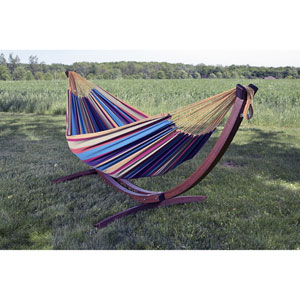 Double Cotton Hammock with Solid Pine Arc Stand  - Tropical (8ft)  (FSC Certified)