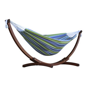 Double Cotton Hammock with Solid Pine Arc Stand  - Oasis (8ft)  (FSC Certified)