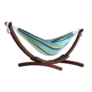 Double Cotton Cayo Reef Hammock with Solid Pine Arc Stand