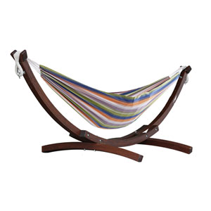 Double Cotton Retro Hammock with Solid Pine Arc Stand