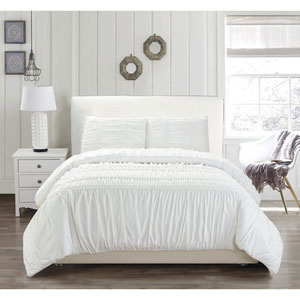 Emilia White Full/Queen Three-Piece Duvet Set