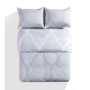Lucca Grey Queen Three-Piece Duvet Set