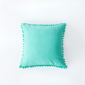 Elodie Bright Teal 18 In. Pompom Throw Pillow Shell