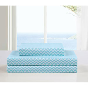 Fifi Full Aqua Four-Piece Sheet Set