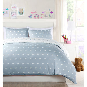 Kelly Heart Grey Twin Three-Piece Comforter Set