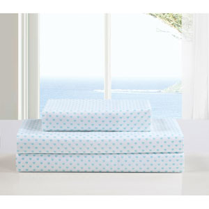 Kelly Full Three-Piece Aqua Sheet Set