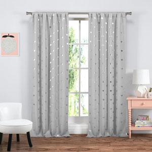 Kelly Grey Heart 84 x 38 In. Blackout Grommet Curtain Panel Pair