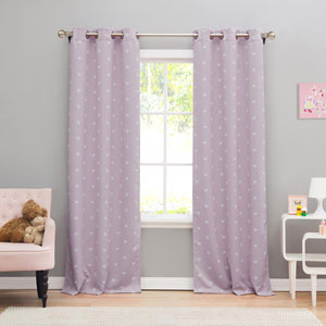 Kelly Lavender Heart 84 x 38 In. Blackout Grommet Curtain Panel Pair