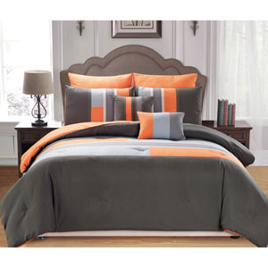 Desiree Orange Queen Seven-Piece Comforter Set