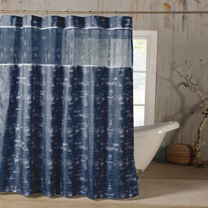 Ella Navy Blue Satin Look Shower Curtain with Sheer Border