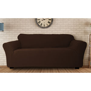 Hanover Chocolate Stretch Velvet Sofa Cover