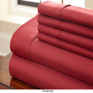 Burgundy Queen Six-Piece Sheet Set