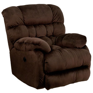 Contemporary Sharpei Chocolate Microfiber Power Recliner with Push Button