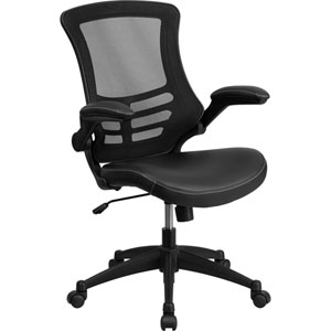 Mid-Back Black Mesh Swivel Task Chair with Leather Padded Seat and Flip-Up Arms