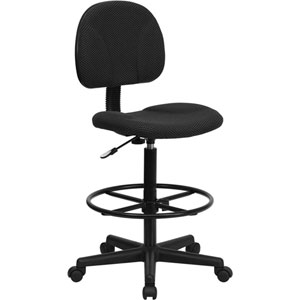 Black Patterned Fabric Ergonomic Drafting Chair