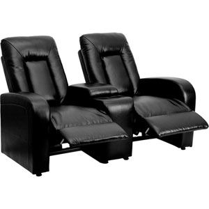 Elise Series 2-Seat Reclining Black Leather Theater Seating Unit with Cup Holders
